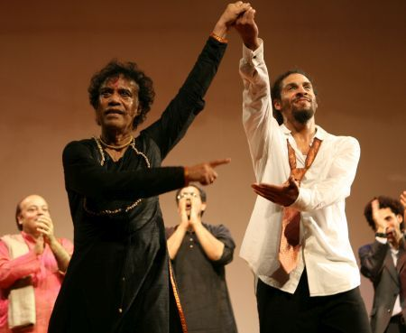 Pandit Chitresh Das with Emmy-winning tap dancer Jason Samuels Smith, right, during a performance.