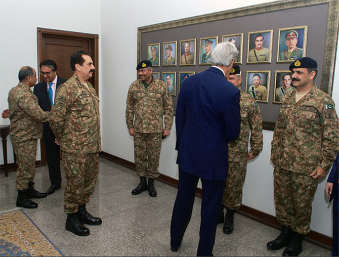 Pakistan army chief General Raheel Sharif, third from left, introduces US Secretary of State John Kerry to some of his top generals before they gave Kerry a military briefing during his visit to Pakistan's army headquarters in Rawalpindi on January 13, 2015. Photograph: US State Department