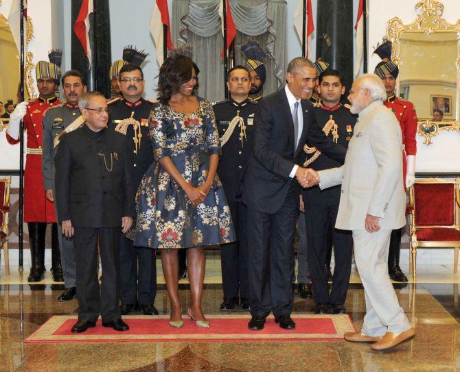Then US President Barack Obama greets Prime Minister Narendra Damodardas Modi at the State dinner then President Pranab Mukherjee hosted for POTUS and FLOTUS, January 25, 2015.