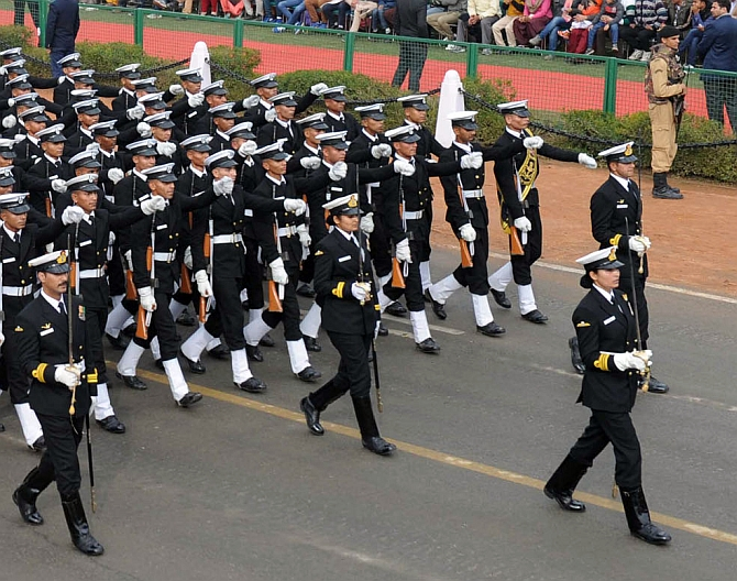 The Naval contingent led by Lieutenant Commander Sandhya Chauhan