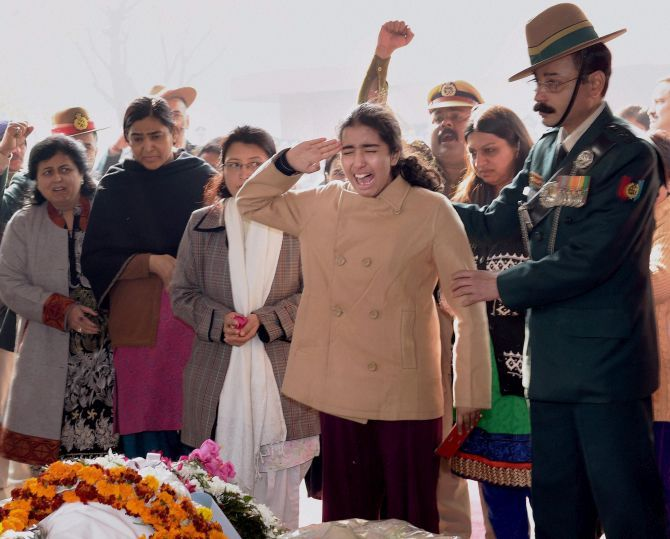 Colonel M N Rai's daughter bid farewell to her hero father