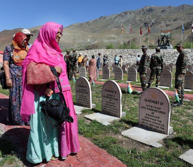 Kargil war martyrs families visit their memorials. Photograph: PTI
