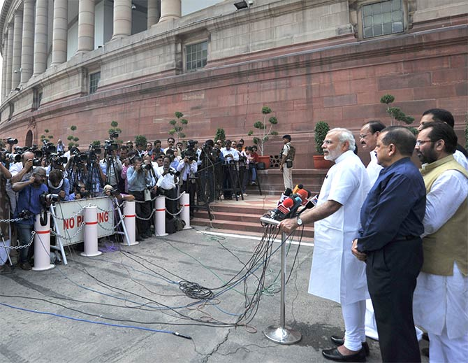 Prime Minister Narendra Modi addresses the media ahead of the Monsoon Session of Parliament. Photograph: Press Information Bureau