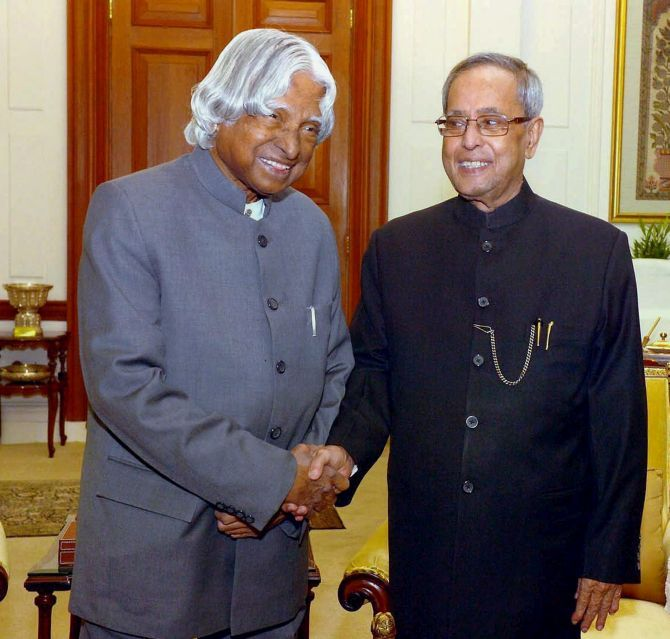 A P J Kalam, the most popular Rashtrapati India has ever had, with President Pranab Mukherjee at a meeting in 2014. Photograph: PTI
