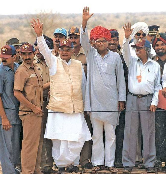 A P J Abdul Kalam, then scientific advisor to the prime minister, then prime minister Atal Bihari Vajpayee, then defence minister George Fernandes at the Pokhran nuclear test site, May 1988.  Photograph: Press Information Bureau/Facebook