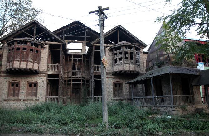 Burnt homes of Kashmiri Pandits in Anantnag.