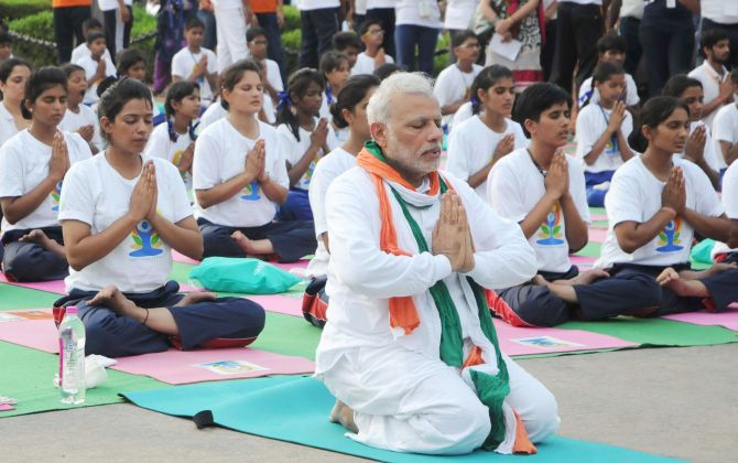 On 3rd Yoga Day, PM wants 'selfie of three generations'