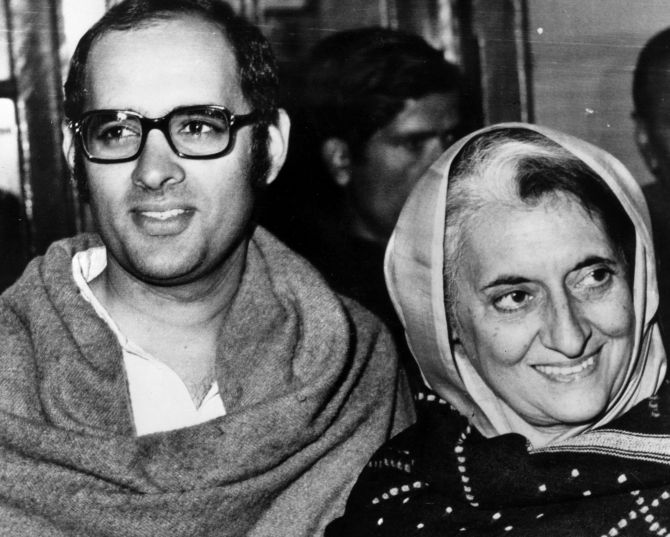 Indira Gandhi with her son Sanjay Gandhi. Photograph: Keystone/Getty Images