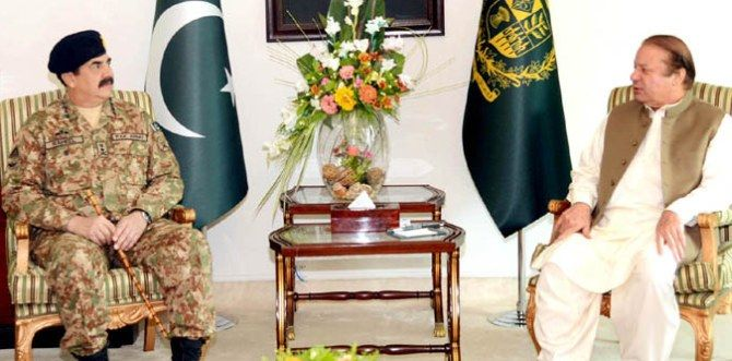 Pakistan Prime Minister Nawaz Sharif, right, with army General General Raheel Sharif.