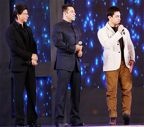 Aamir Khan, Salman Khan and Shah Rukh Khan at a 2015 event in New Delhi.