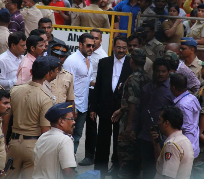 Salman Khan outside court after he was granted bail