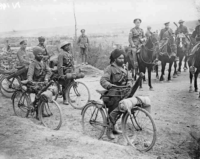 Indian bicycle troops at Somme, France, during World War I.