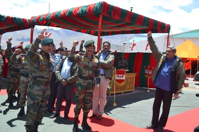 Defence Minister Manohar Parrikar at the Siachen base camp.
