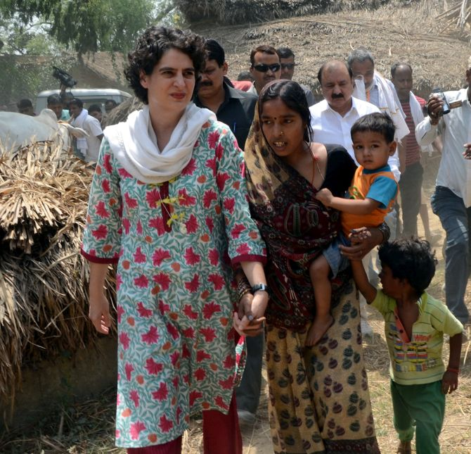 Priyanka Gandhi meets citizens in Rae Bareli, her mother's Lok Sabha constituency. Photograph: Sandeep Pal