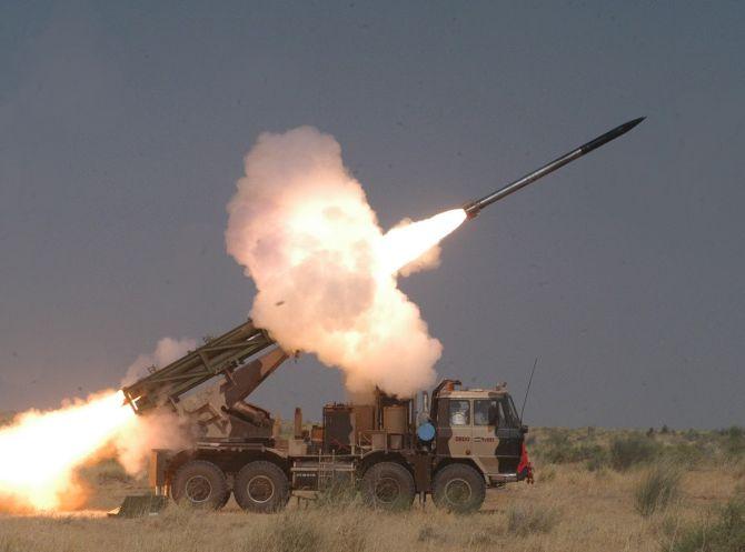Pinaka Mark-II rocket hits target