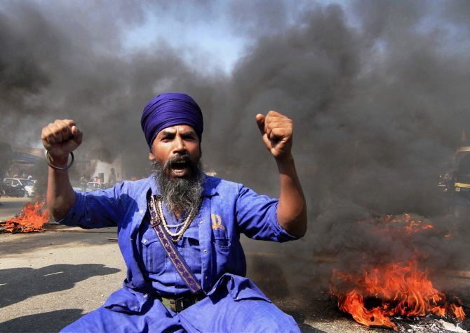 A protester in Punjab. Photograph: PTI