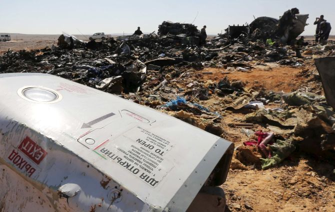 The wreckage of Metrojet Flight 9268, the Russian airliner, which was blown up by Daesh terrorists in north Egypt. Photograph: Mohamed Abd El Ghany/Reuters