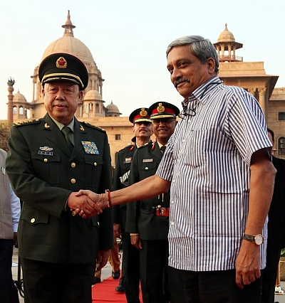 Defence Minister Manohar Parrikar and General Fan Changlong, vice-chairman of China's powerful Central Military Commission, November 16, 2015.