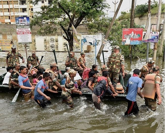 A rescue in Chennai. Photograph: PTI