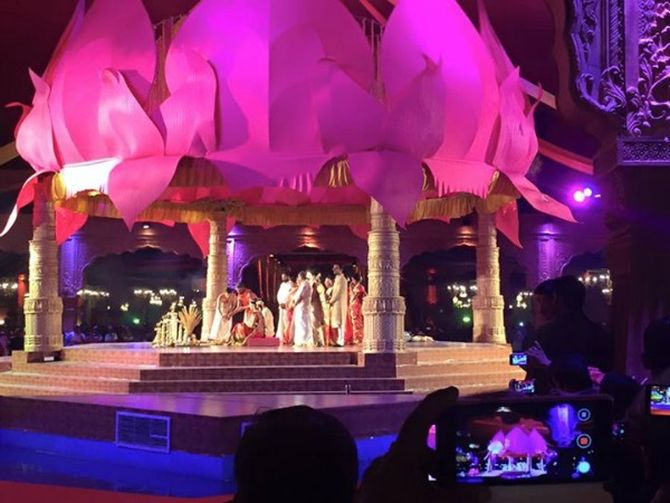 NRI businessman Ravi Pillai spent Rs 55 crore on his daughter Dr Arathi Ravi Pillai's wedding to Adithya Vishnu, a Kochi-based doctor at the Asramam grounds in Kollam on Thursday.