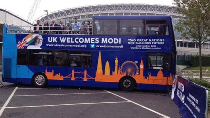 The Indian community groups in United Kingdom have launched a 'Modi Express' bus for a month-long tour around iconic landmarks to mark Prime Minister Narendra Modi's maiden visit to the country in November.