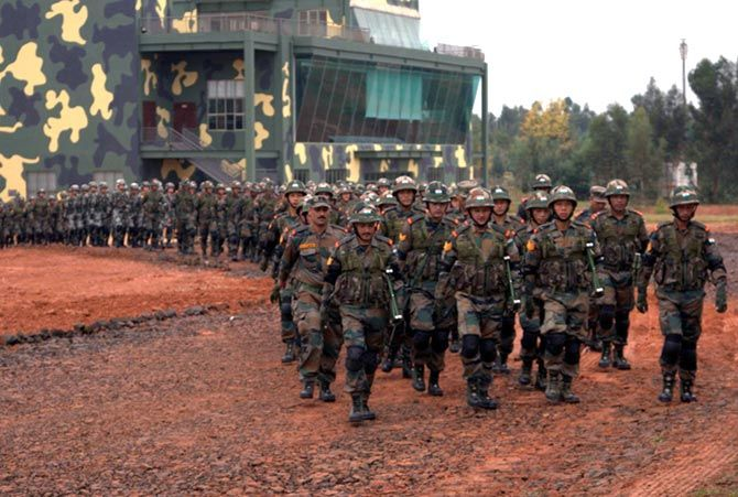 Indian and Chinese soldiers march during the India-China military exercises in Kunming, China, October 2015. Photograph: Kind courtesy, The Indian Army