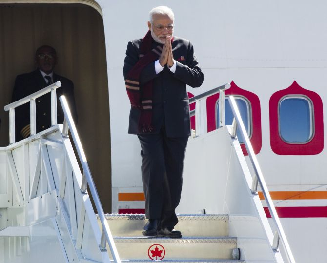 Prime Minister Narendra Modi arriving at Vancouver International Airport in Richmond, British Columbia, in April. Photograph: Ben Nelms/Reuters