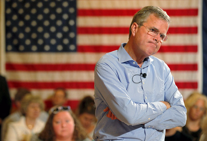 Jeb Bush listens to a question from the audience during a town hall meeting campaign stop in Gorham, New Hampshire, July 23. Photograph: Brian Snyder