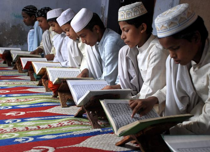 Students at a madrassa in Mathura