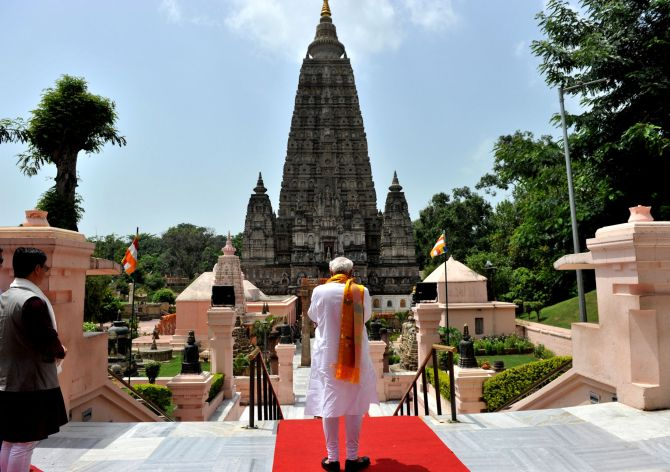 Prime Minister Narendra Modi at the Mahabodhi Temple, in Bodh Gaya, Bihar.