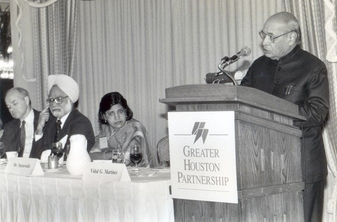 P V Narasimha Rao, then the prime minister of India, speaking in Houston. Also seen is then finance minister Dr Manmohan Singh. Photograph: India Abroad Archives