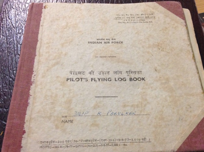 One of fighter pilot Parulkar's flying log books