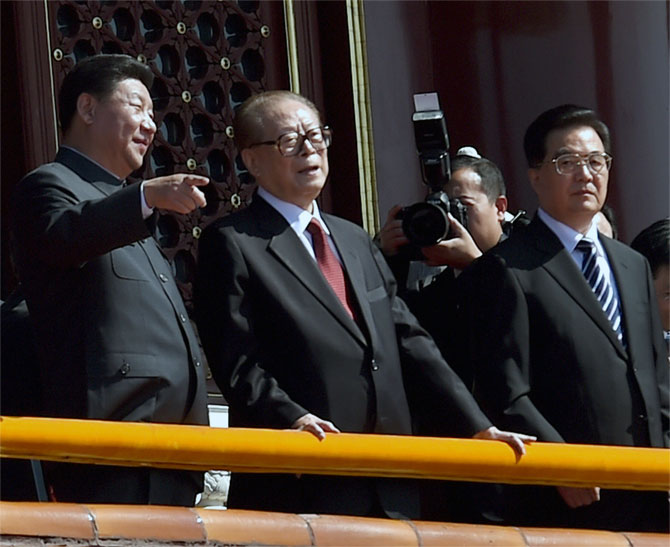 Chinese President Xi Jinping, left, with his predecessors Jiang Zemin and Hu Jintao at the  parade in Beijing, September 3, 2015. Photograph: Wang Zhao/Reuters