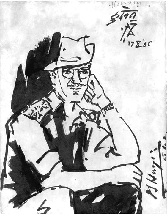 A portrait of Lieutenant Colonel Hayde painted by the legendary painter M F Husain.