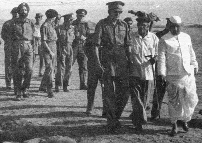 Y B Chavan, then India's defence minister, with General J N Chaudhuri, the then chief of the army staff, at the front during the war.