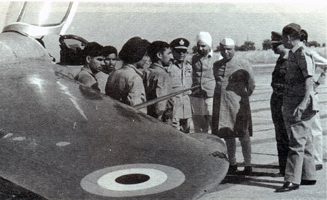 Y B Chavan, then India's defence minister, with air force officers and the Gnat that shot down a Pakistani F-104 aircraft.