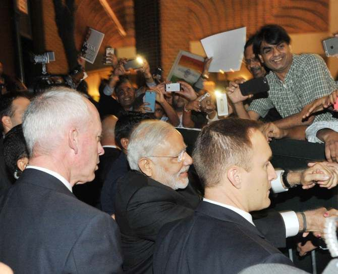 Prime Minister Narendra Modi greets admirers in New York. Photograph: Press Information Bureau