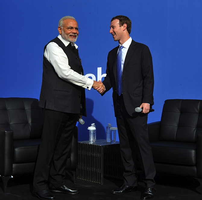 Facebook Founder Mark Zuckerberg, right, with Prime Minister Narendra D Modi at the Facebook headquarters, September 28, 2015