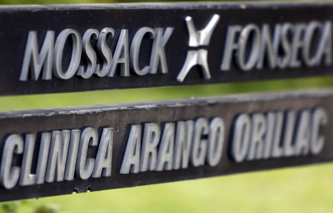 Image: A company list showing the Mossack Fonseca law firm is pictured on a sign at the Arango Orillac Building in Panama City.