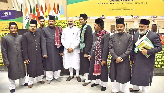 Prime Minister Narendra Modi at the World Sufi Forum in New Delhi, March 17, 2016.