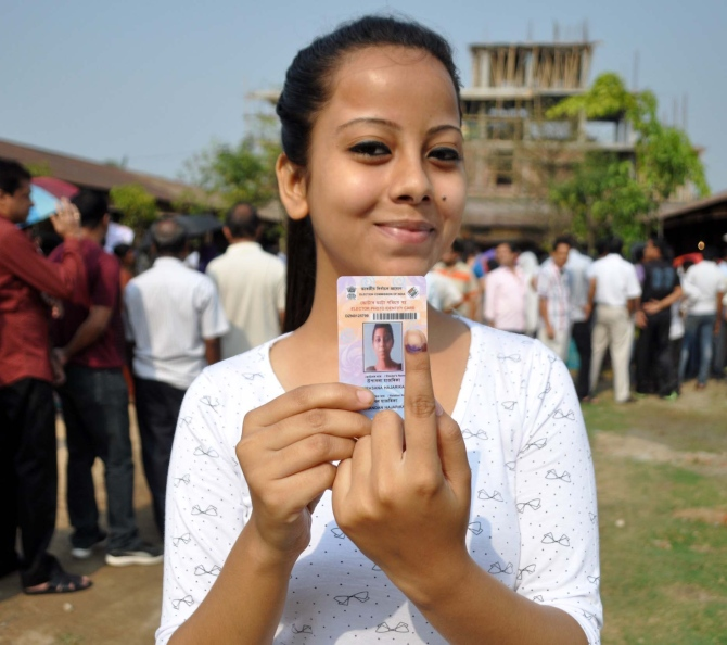 A young voter in Assam, April 11, 2016.