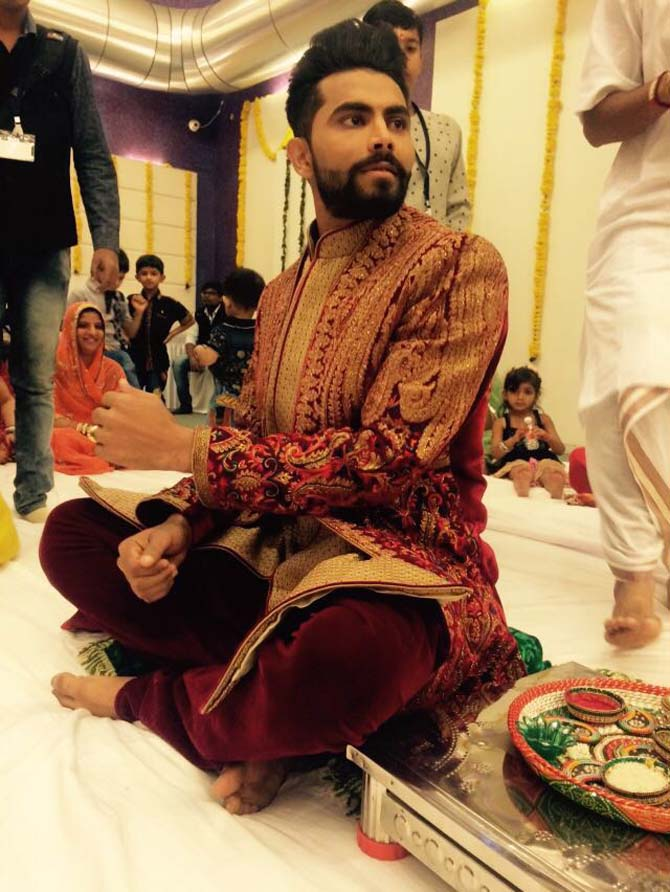 Ravindra Jadeja at one of his pre-wedding ceremonies in Rajkot. Photograph: Haresh Pandya