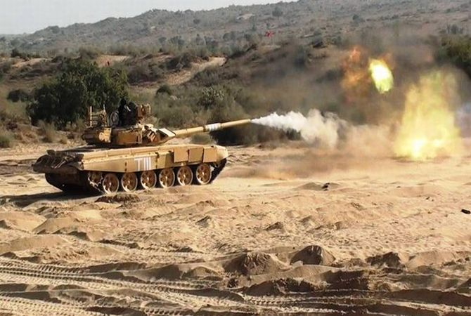 Tanks fire at 'enemy bunkers' during Shatrujeet exercise in the deserts of Rajasthan. Photograph: @SpokespersonMoD