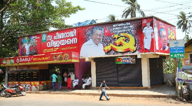 Pinarayi village, home to CM-aspirant Pinarayi Vijayan, plastered with CPI-M posters