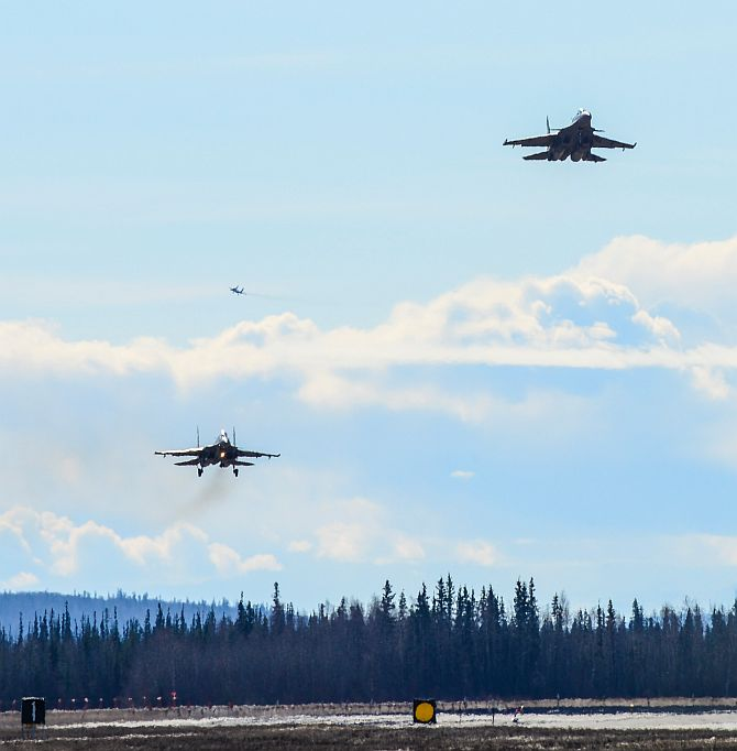 Indian Air Force Su-30MKI fighter aircraft prepare to land at the Eielson Air Force Base, Alaska. India and the US conduct more military exercises together than aniother other two nations. Photograph: Staff Sergeantt Joshua Turner/US Air Force