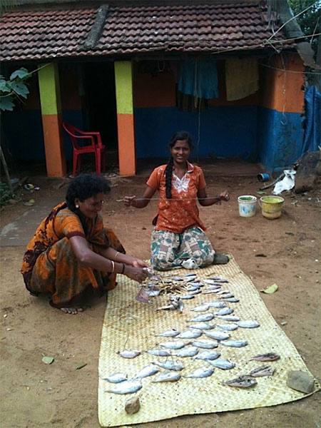Women selling fish outside their homes in Idinthakarai.