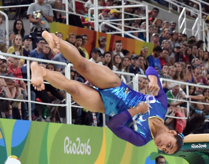 Dipa Karmakar participates in the vault during the artistic gymnastics women's final at the 2016 Summer Olympics at Rio de Janeiro in Brazil Photograph: Atul Yadav/PTI Photo.