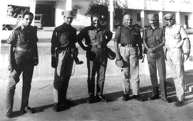 Brigadier Anand Sarup with soldiers during the war