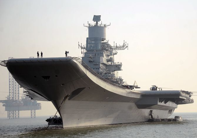 The aircraft carrier, the INS Vikramaditya .Photograph: Prasanna D Zore/Rediff.com
