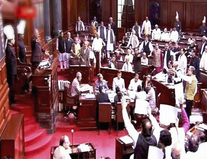 A television grab of the disruption in Parliament during the winter session.